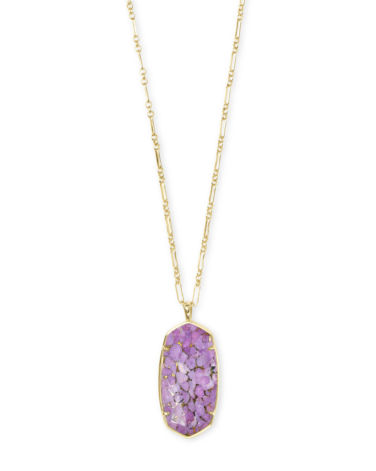 Kendra Scott Faceted Reid Gold Long Pendant Necklace In Bronze Veined Lilac Magnesite