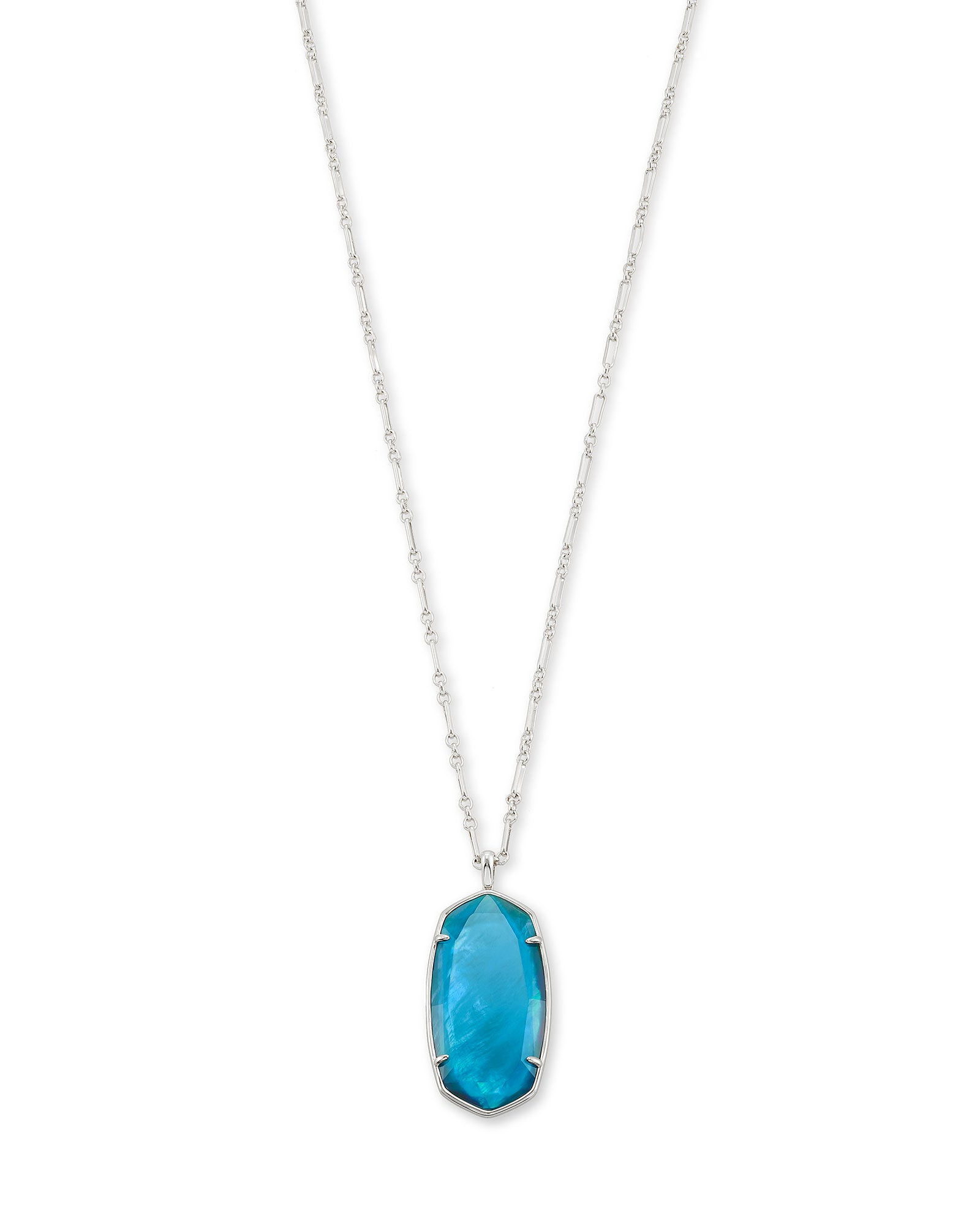 Kendra Scott Faceted Reid Silver Long Pendant Necklace In Peacock Blue Illusion