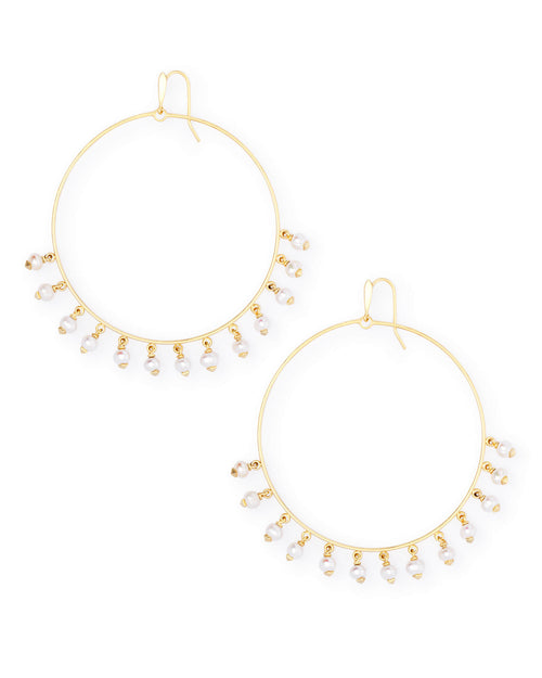 Kendra Scott Hilty Gold Hoop Earrings In Pearl