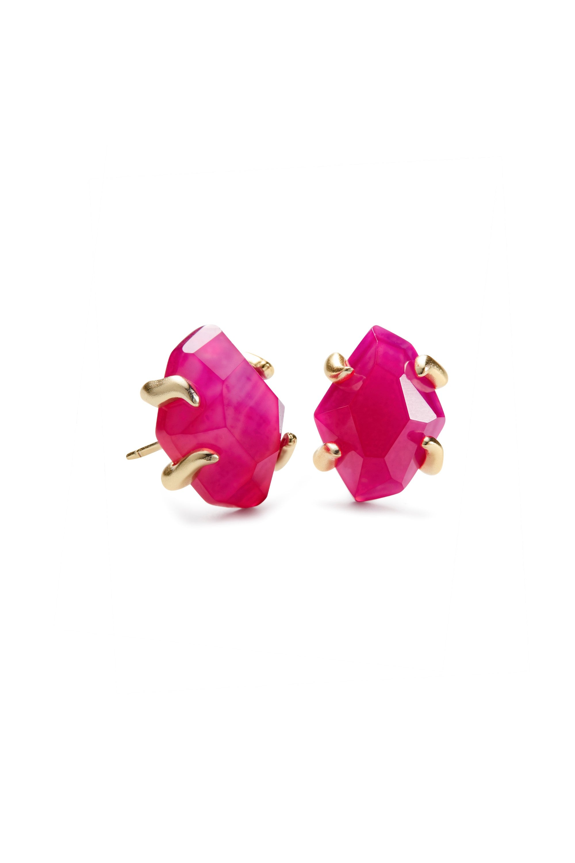 Kendra Scott Inaiyah Gold Earrings In Pink Agate