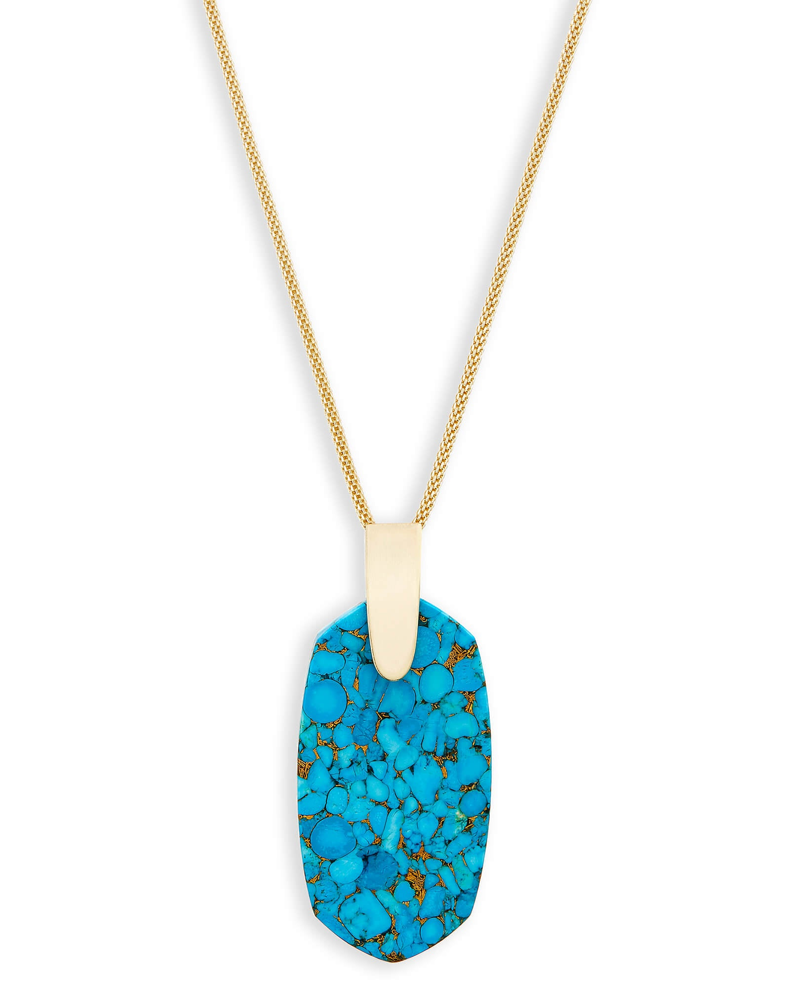 Kendra Scott Inez Gold Long Pendant Necklace In Bronze Veined Turquoise