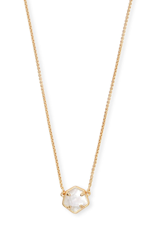 Kendra Scott Jaxon Gold Pendant Necklace In Ivory Mother-Of-Pearl