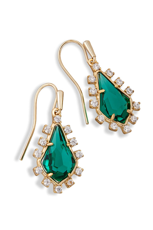 Kendra Scott Juniper Earrings In Emerald Glass