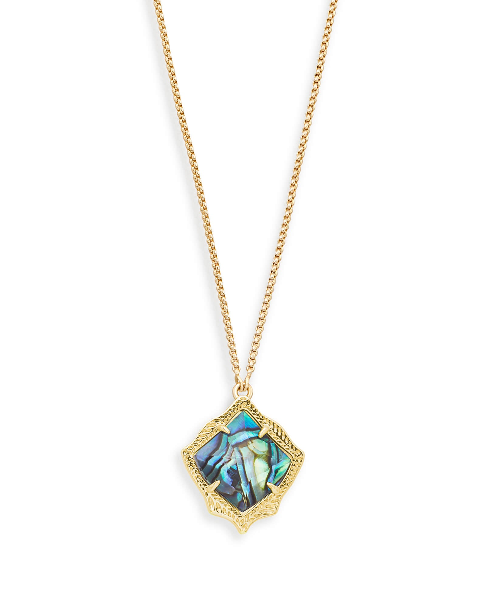 Kendra Scott Kacey Gold Long Pendant Necklace In Abalone Shell