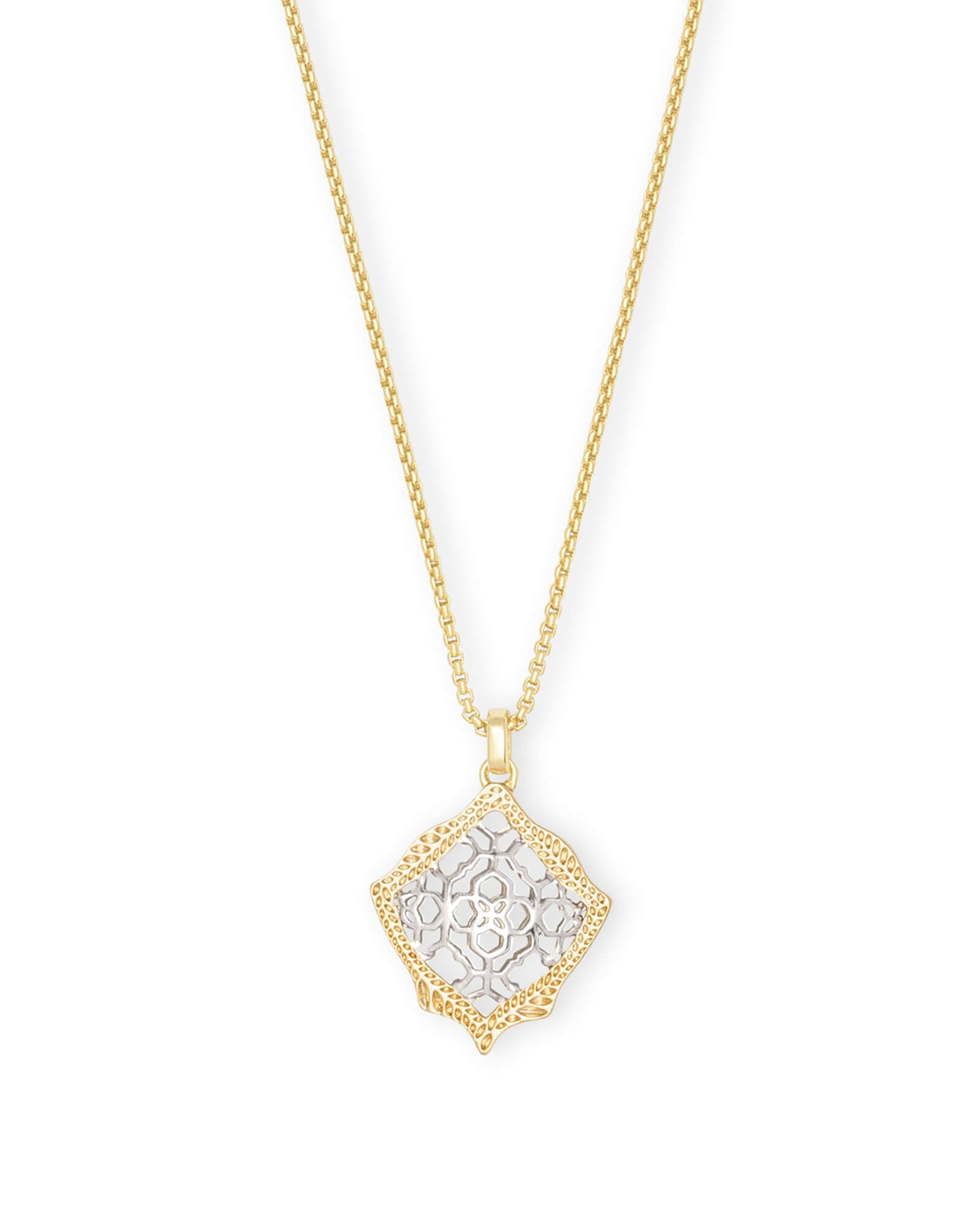 Kendra Scott Kacey Gold Long Pendant Necklace In Silver Filigree Mix