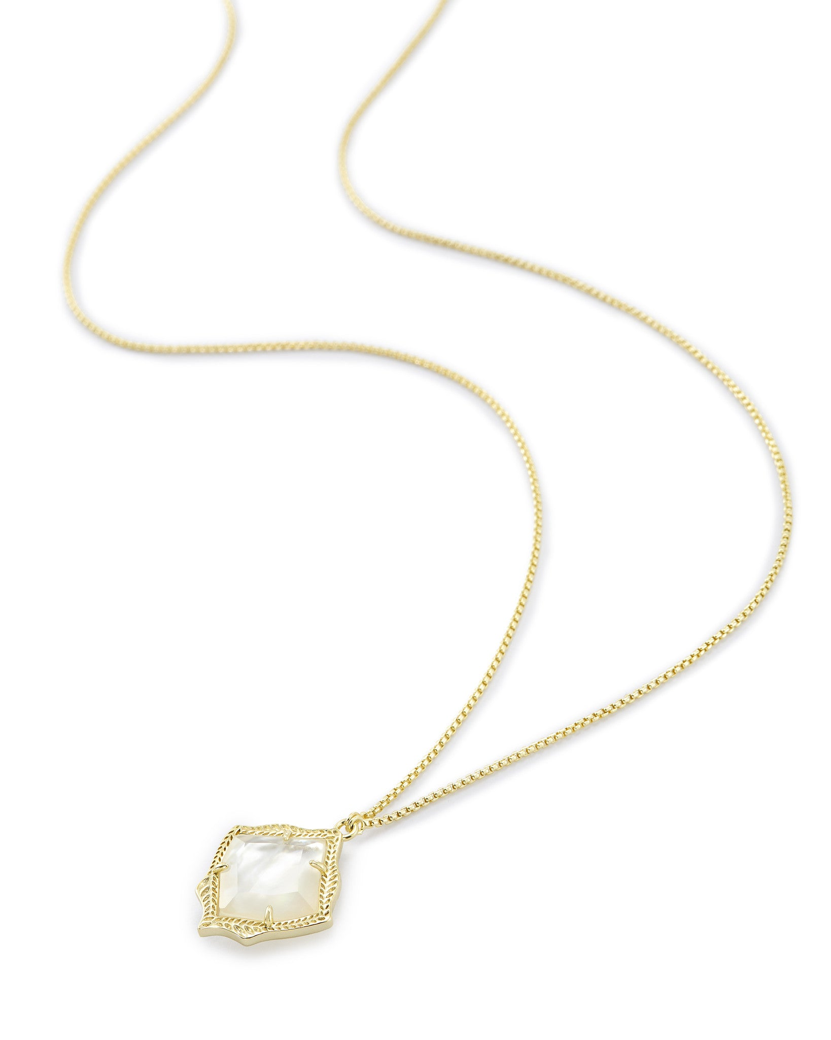 Kacey Long Pendant Necklace In Ivory Pearl