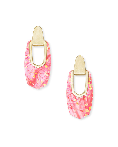 Kendra Scott Kailyn Gold Drop Earrings In Iridescent Coral Illusion