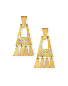 Kendra Scott Kase Vintage Gold Fringe Earrings In Vintage Gold Filigree