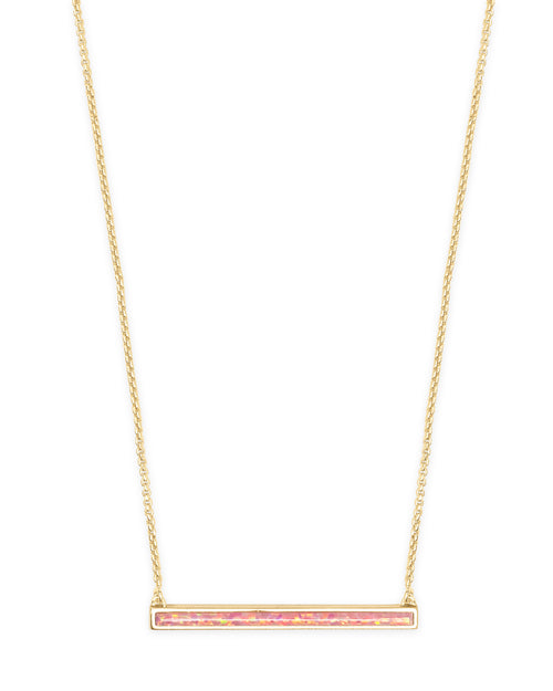 Kendra Scott Kelsey Gold Pendant Necklace In Coral Kyocera Opal