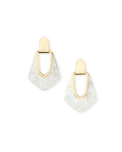 Kendra Scott Kensley Gold Hoop Earrings In Ivory Pearl