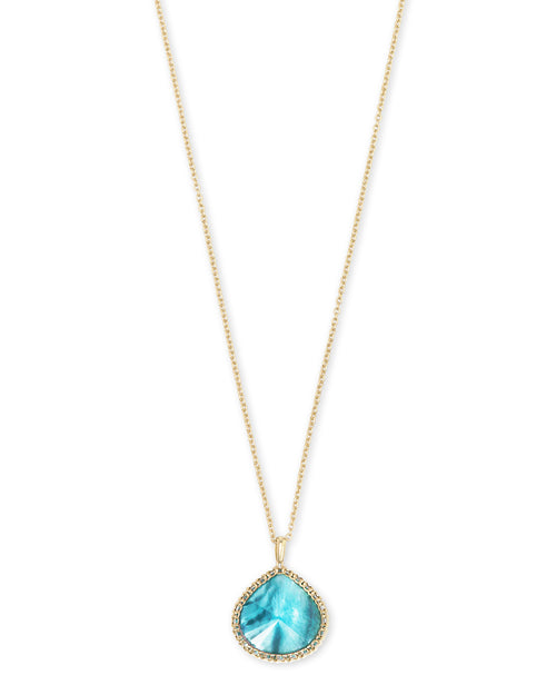Kendra Scott Kenzie Gold Pendant Necklace In Aqua Illusion