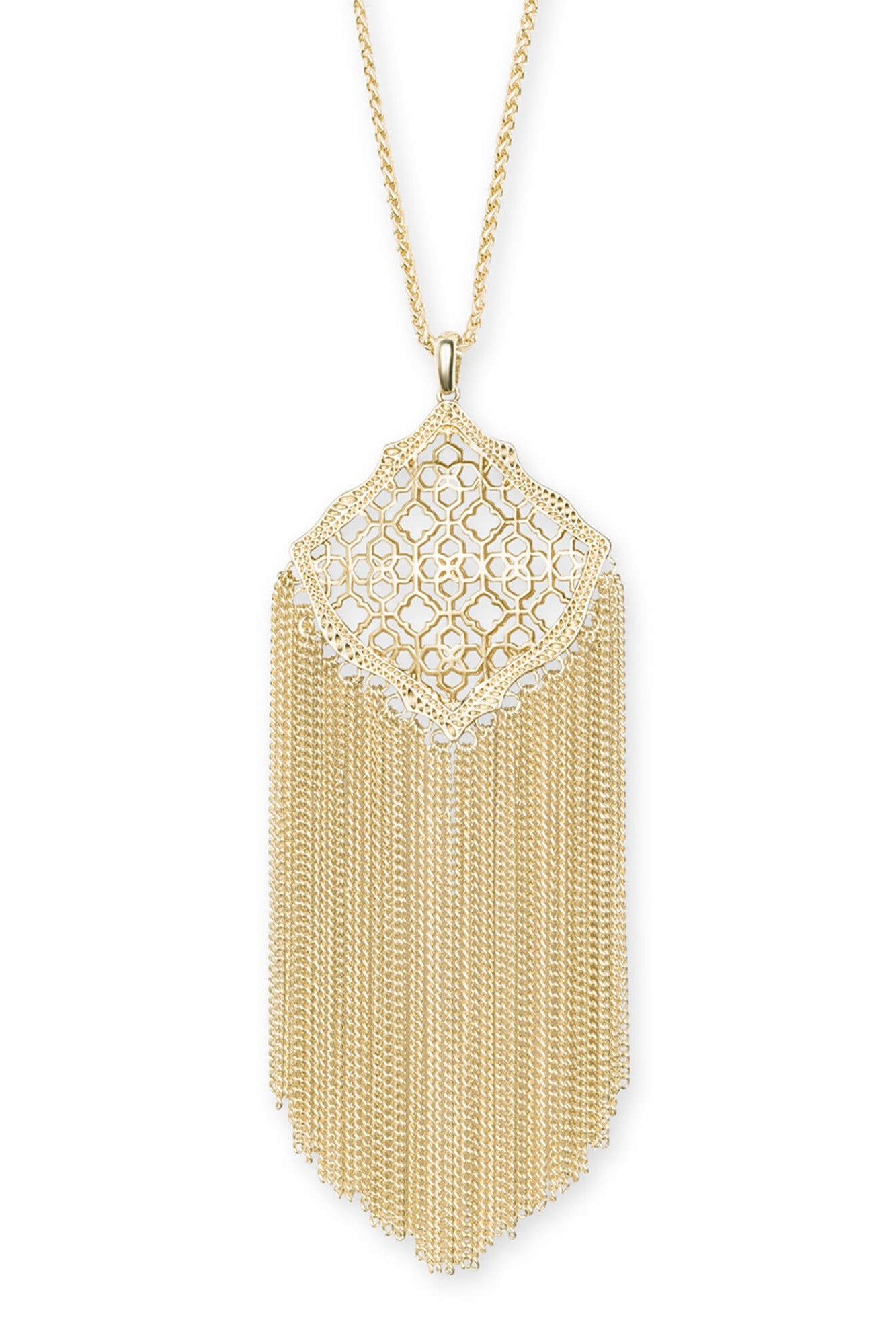 Kendra Scott Kingston Gold Long Pendant Necklace In Gold Filigree Mix