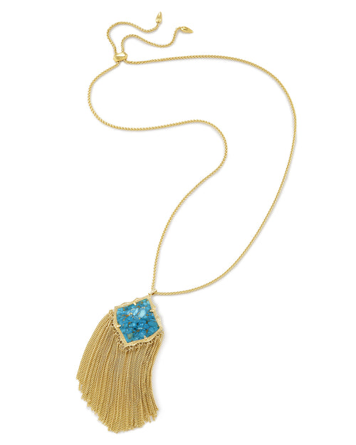 Kingston Long Pendant Necklace In Bronze Veined Turquoise