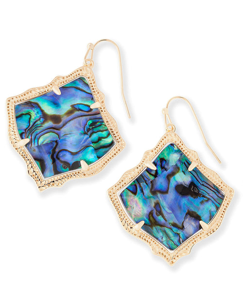 Kendra Scott Kirsten Gold Drop Earrings In Abalone Shell