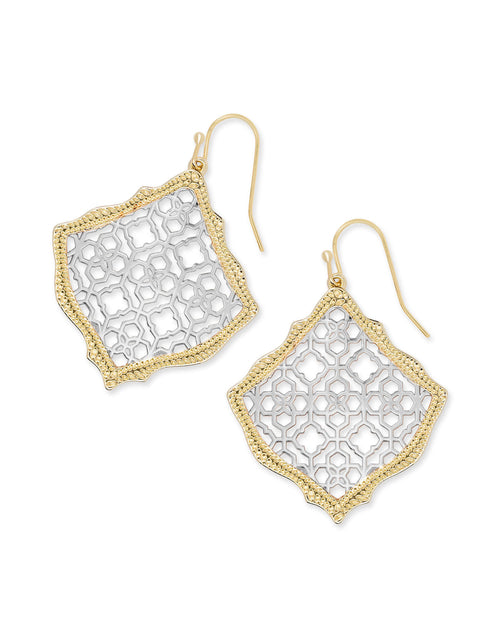 Kendra Scott Kirsten Gold Drop Earrings In Silver Filigree Mix