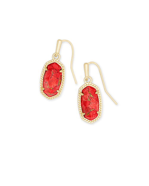 Kendra Scott Lee Gold Drop Earrings In Bronze Veined Red Magnesite