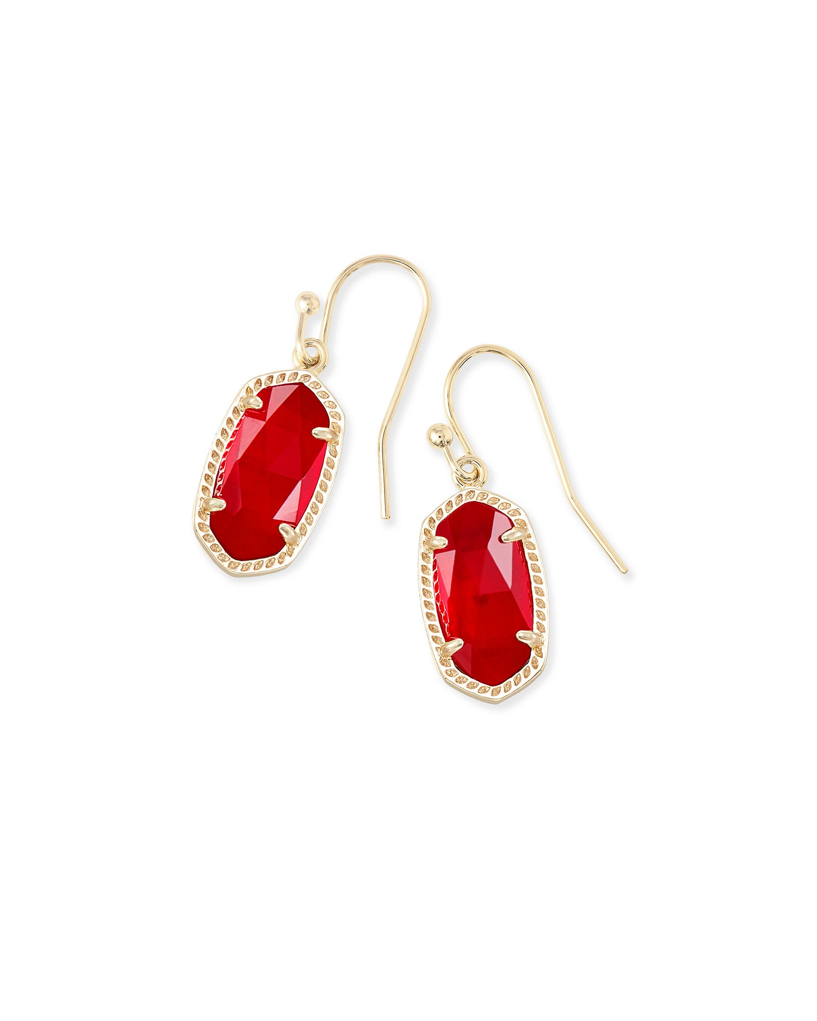 Kendra Scott Lee Gold Drop Earrings In Cherry Red Illusion