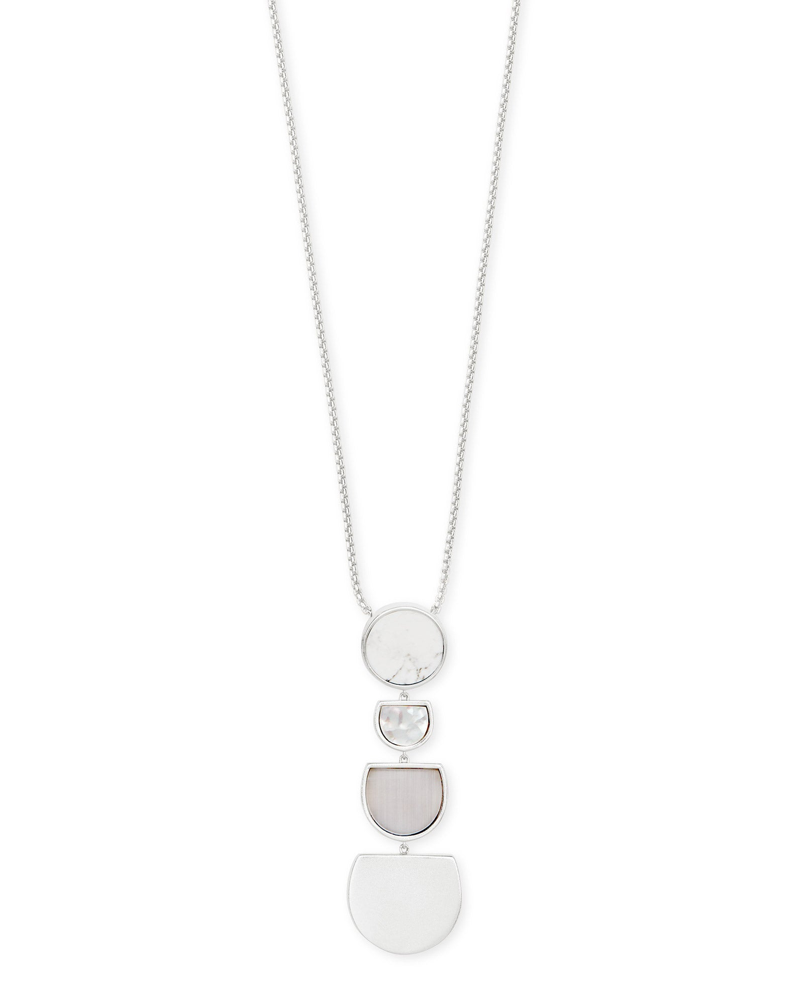 Kendra Scott Luna Silver Long Pendant Necklace In White Mix