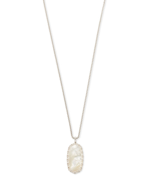Kendra Scott Macrame Reid Silver Long Pendant Necklace In Ivory Mother-Of-Pearl