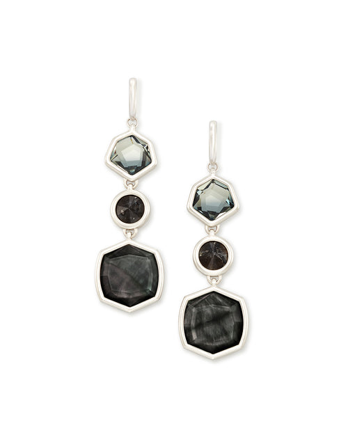 Kendra Scott Natalia Silver Statement Earrings In Charcoal Gray Mix