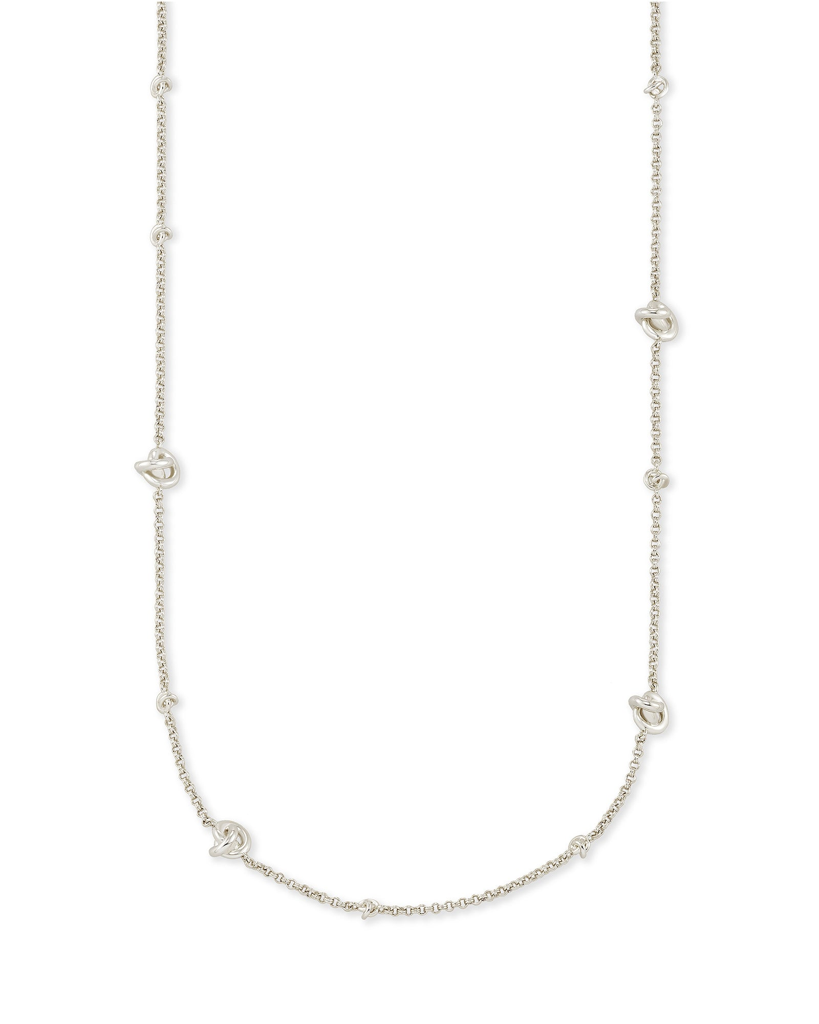Kendra Scott Presleigh Adjustable Necklace In Bright Silver