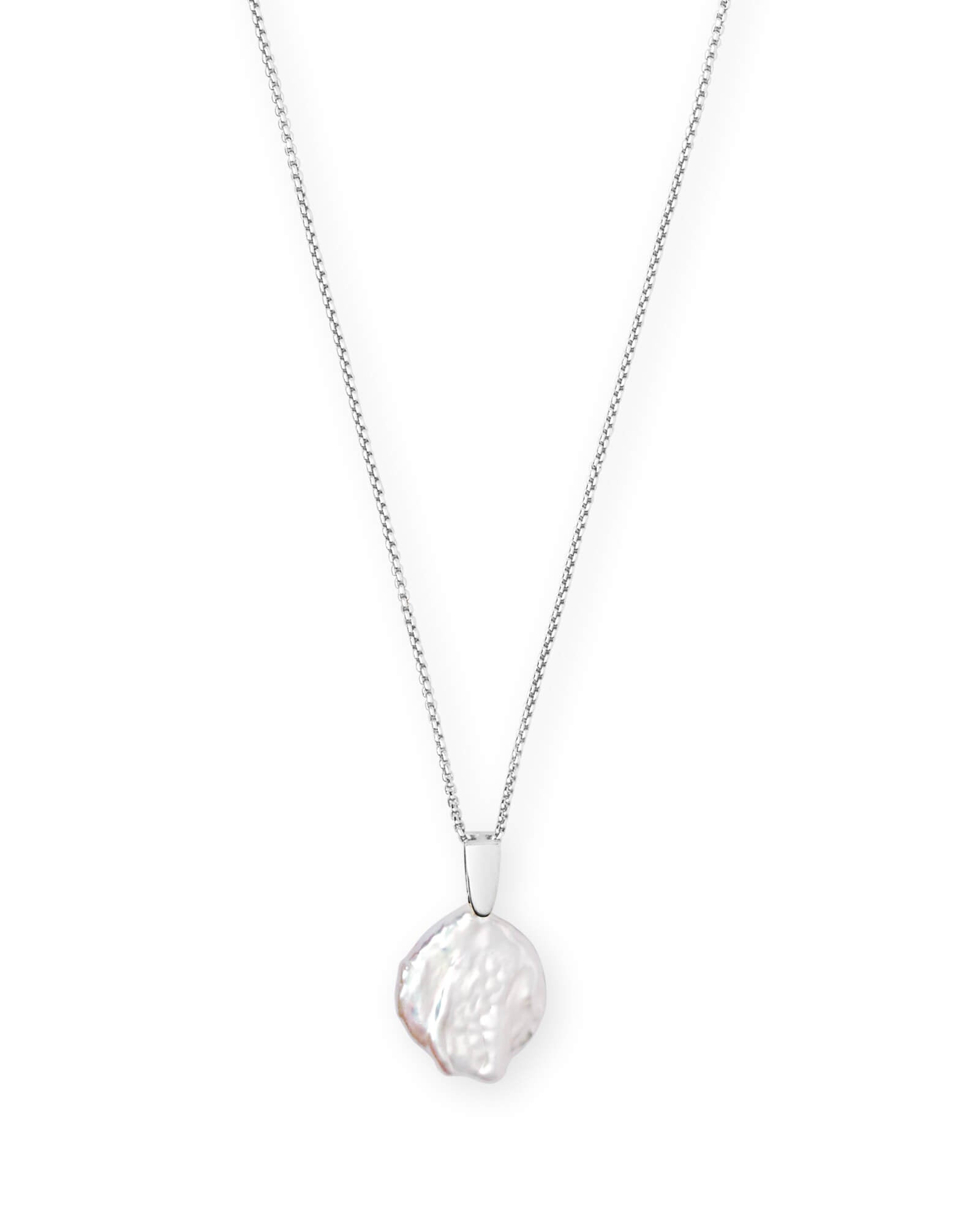 Kendra Scott Priscilla Bright Silver Pendant Necklace In Pearl