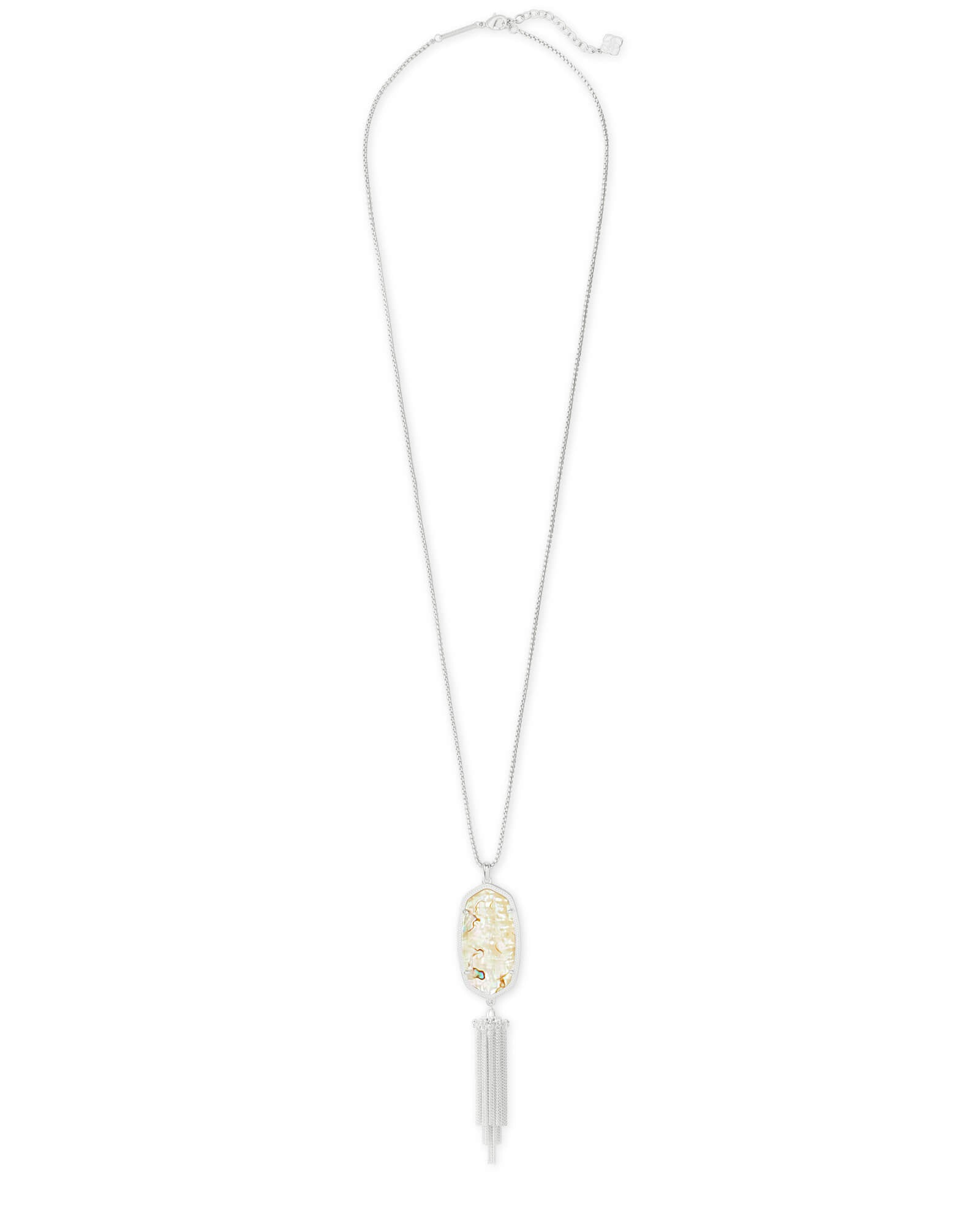 Kendra Scott Rayne Bright Silver Large Long Pendant Necklace In White Abalone