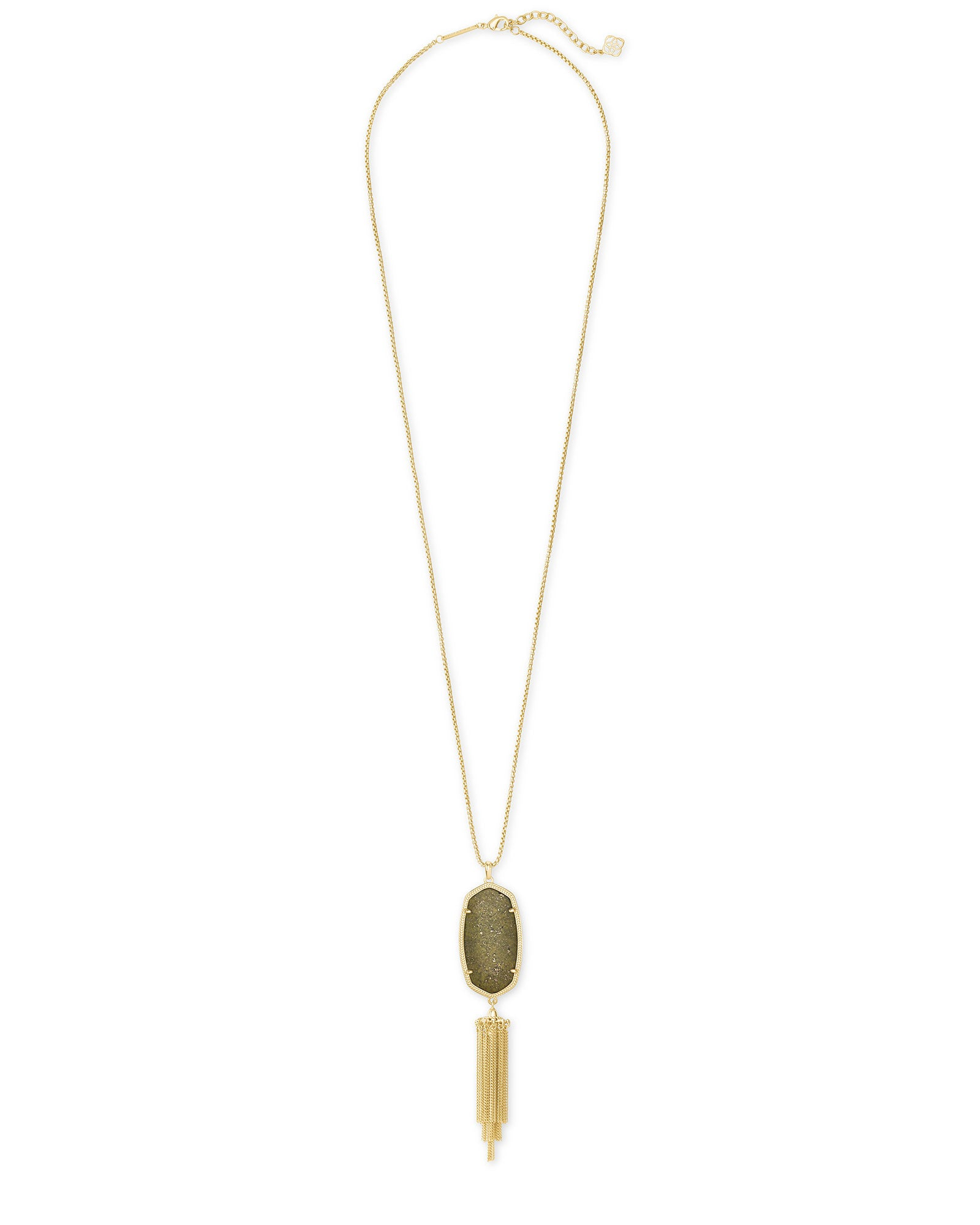 Kendra Scott Rayne Gold Long Pendant Necklace In Olive Epidote