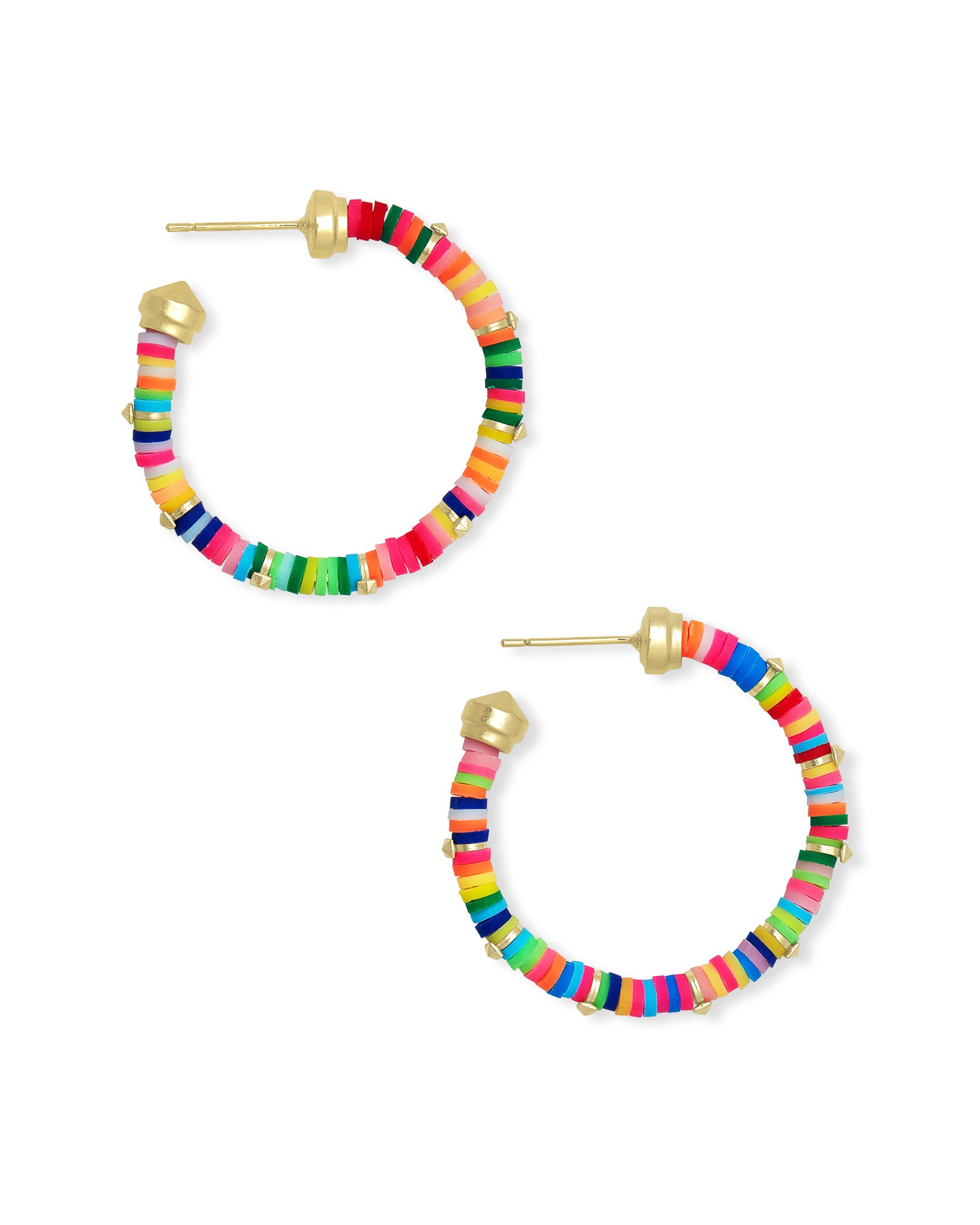 Kendra Scott Reece Gold Small Hoop Earrings In Neon Mix