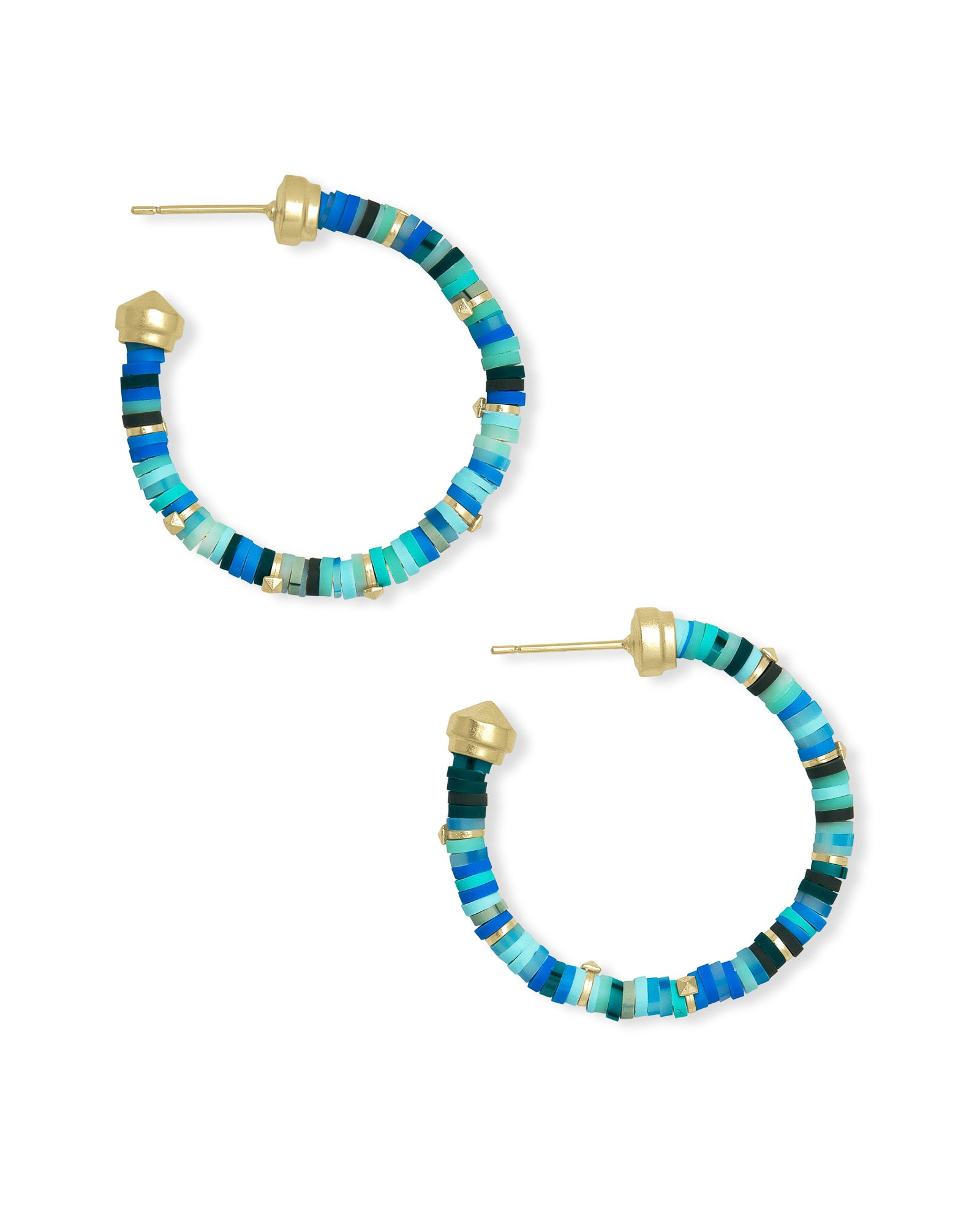 Kendra Scott Reece Gold Small Hoop Earrings In Sea Green Mix