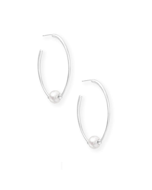 Kendra Scott Regina Bright Silver Hoop Earrings In Pearl