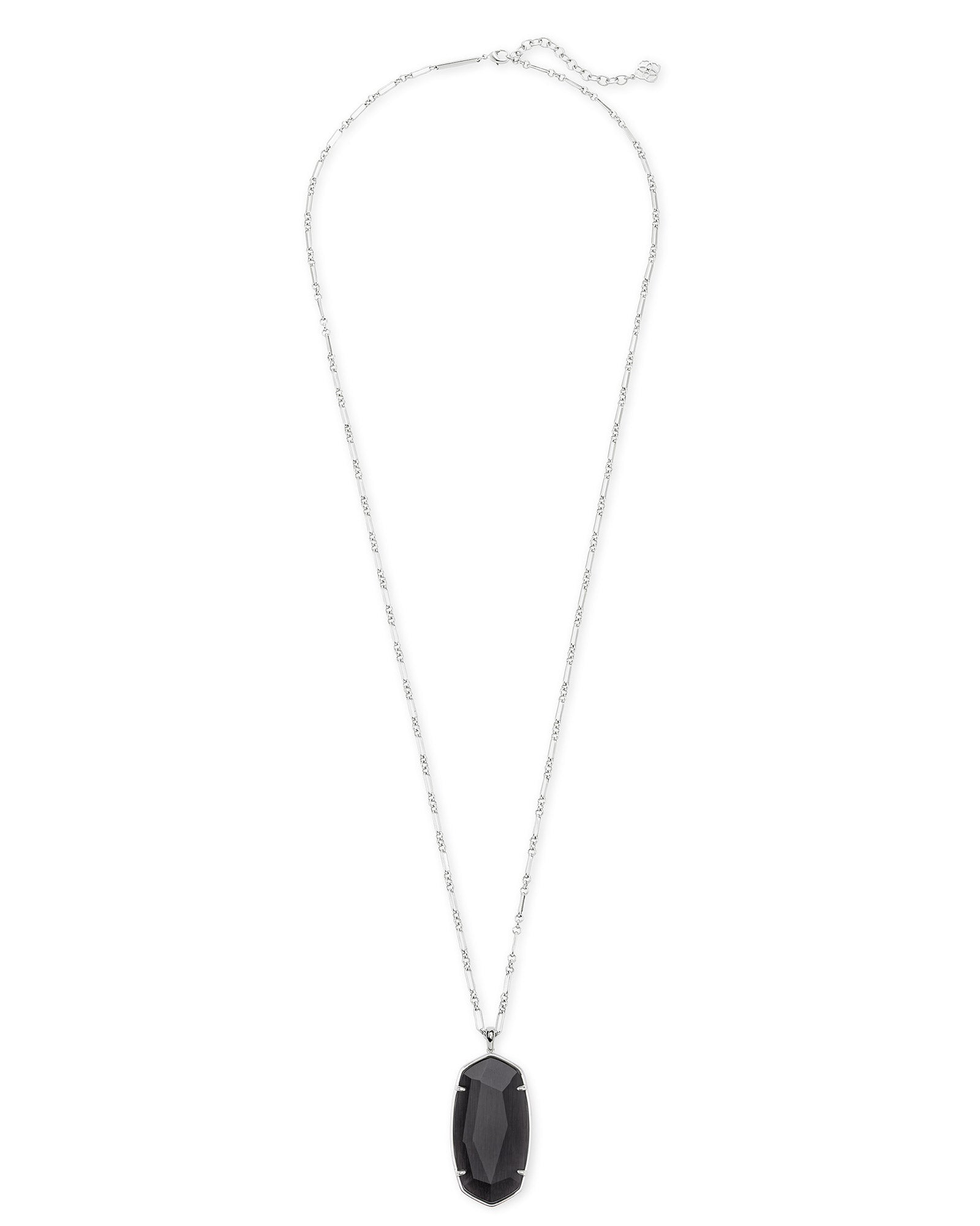 Kendra Scott Faceted Reid Silver Long Pendant Necklace In Black Cat's Eye
