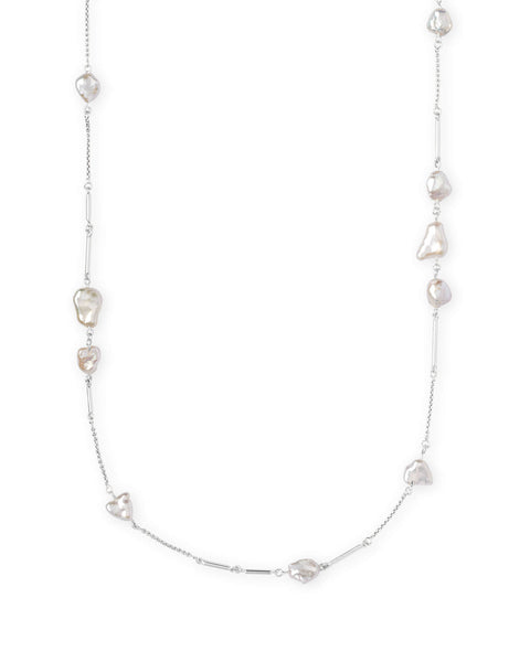 Kendra Scott Sabrina Bright Silver Long Necklace In Pearl