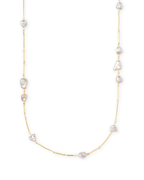 Kendra Scott Sabrina Gold Long Necklace In Pearl