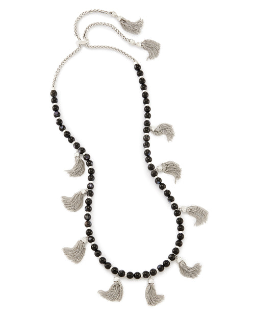 Vanina Long Necklace In Black Pearl