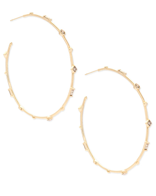 Kendra Scott Zella Gold Hoop Earrings In Smoky Crystal