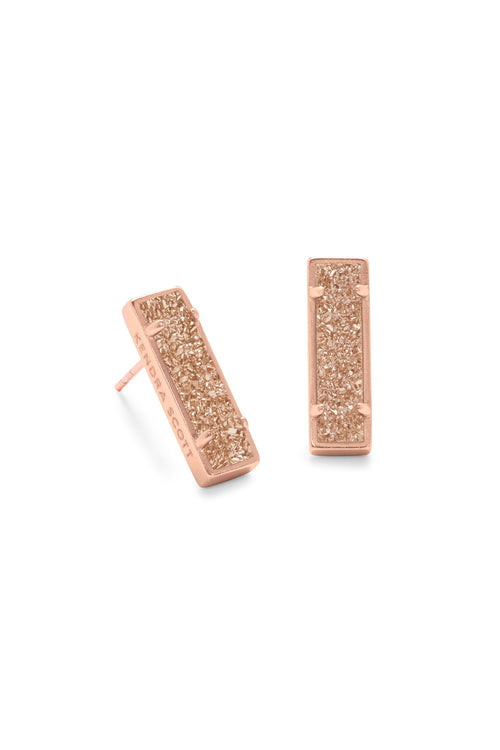 Kendra Scott Lady Rose Gold Stud Earrings In Sand Drusy