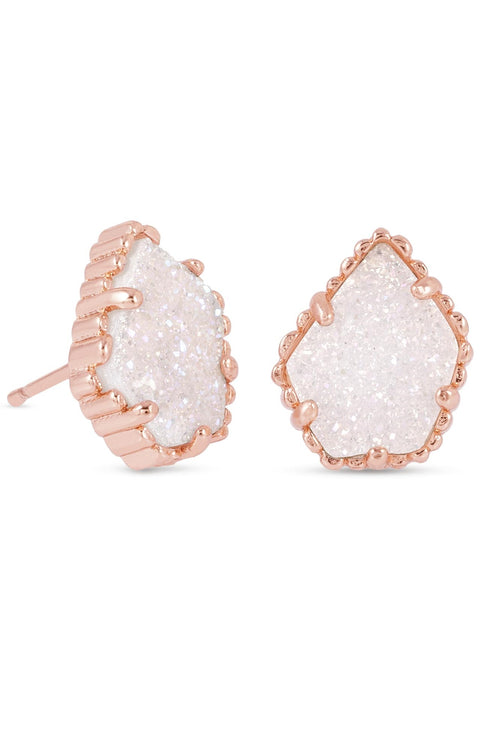 Kendra Scott Tessa Rose Gold Earrings In Iridescent Drusy