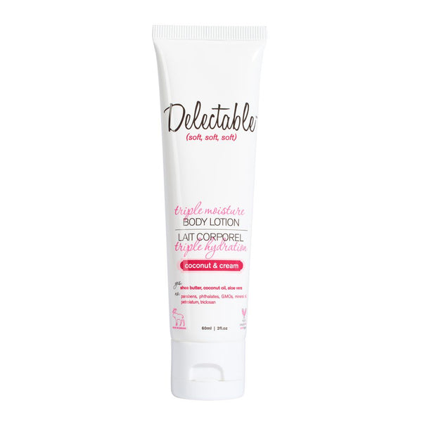 Delectable Best Coconut Body Lotion Travel Size - Vegan Cruelty Free Natural Beauty