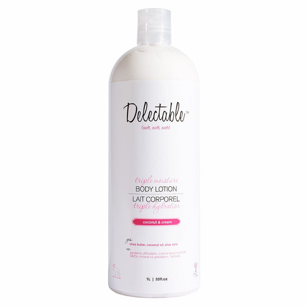 Delectable Best Coconut Body Lotion HiVolume - Vegan Cruelty Free Natural Beauty