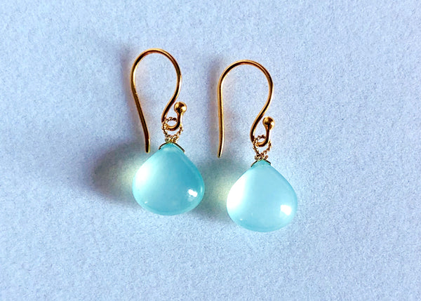 Smooth blue chalcedony drop earrings on 24K vermeil earwires,Stephany Hitchcock Designs, www.StephanyHitchcock.com, Bridesmaid's gift, gift for girlfriend, gift for her, birthday jewelry, natural gemstones