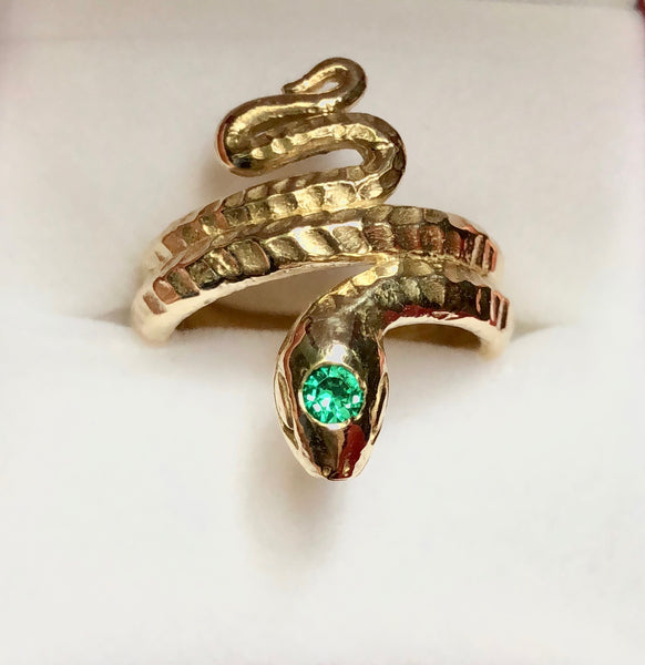 Classic Snake Ring with syn emerald, Classic Snake ring, Snake ring, snake ring with scales, vintage snake ring, Stephany Hitchcock Designs, gift for her, gift for girlfriend, birthday gift wife, spiritual gift, special gift for her