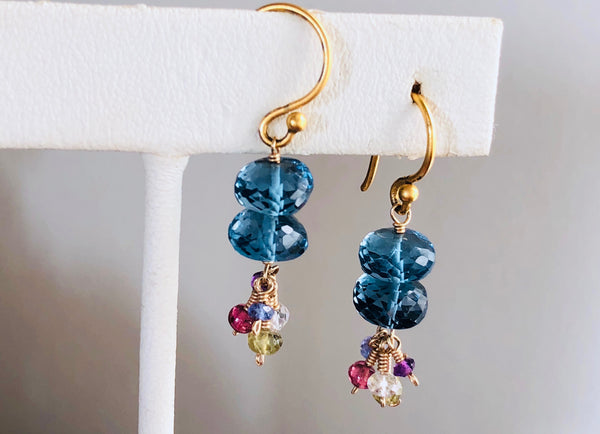 London Blue topaz, London blue topaz drop earrings, vermeil earwires