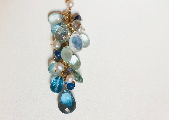 London Blue Topaz Cascade necklace, 14K