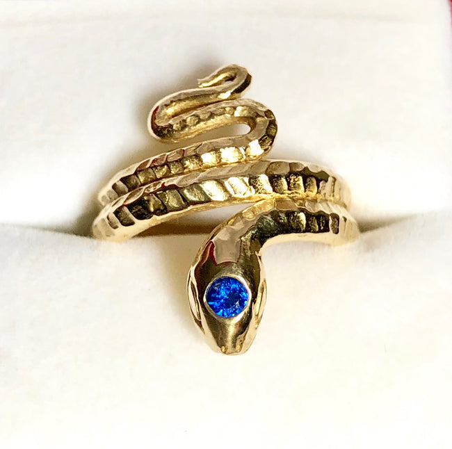 Classic Snake Ring with Syn Sapphire, Classic Snake ring, Snake ring, snake ring with scales, vintage snake ring, Stephany Hitchcock Designs, gift for her, gift for girlfriend, birthday gift wife, spiritual gift, special gift for her