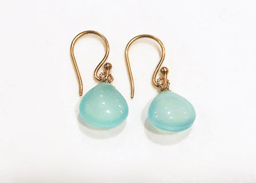 Smooth blue chalcedony drop earrings on 24K vermeil earwires. Stephany Hitchcock Designs, www.StephanyHitchcock.com,Stephany Hitchcock Designs, www.StephanyHitchcock.com, Bridesmaid's gift, gift for girlfriend, gift for her, birthday jewelry, natural gemstones