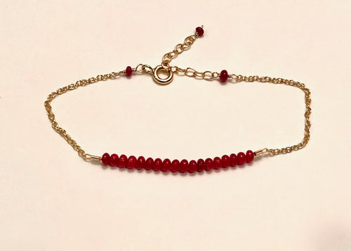 Ruby rondelle bracelet, 14K g/f, ruby bracelet, ruby accents, birthday gift wife, adjustable Ruby bracelet, women's Ruby rondelle bracelet, women's ruby bracelet, delicate ruby bracelet, Mother's Day Ruby bracelet, July birthstone bracelet, Bridesmaid's bracelet, gift for girlfriend, Beaded bracelet, gift for her, fine jewelry, birthday jewelry, birthstone jewelry.