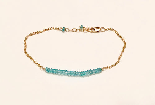 Blue apatite rondelle bracelet, 14K g/f, blue apatite bracelet, blue apatite accents, adjustable blue apatite bracelet, women's blue apatite rondelle bracelet, women's blue apatite bracelet, delicate blue apatite bracelet, Mother's Day blue apatite bracelet, Bridesmaid's bracelet