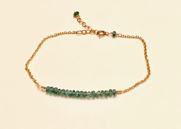 Green apatite rondelle bracelet, 14K g/f, Green apatite bracelet, Green apatite accents, adjustable Green apatite bracelet, women's Green apatite rondelle bracelet, women's Green apatite bracelet, delicate Green apatite bracelet, Mother's Day Green apatite bracelet, Bridesmaid's bracelet