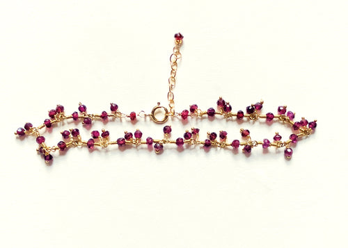 Red Garnet, January birthstone, red garnet ruffle bracelet, garnet bracelet for her, garnet bracelet, fine jewelry